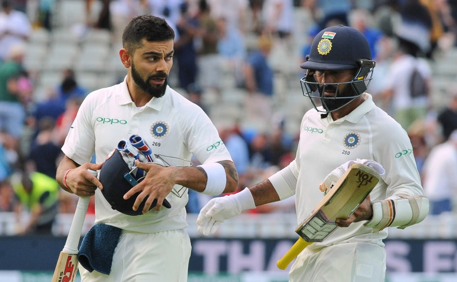 Virat Kohli and Dinesh Karthik ended Day 3 with a comparatively stable partnership, taking India to 110/5. India now have two days and five wickets to chase down England, who have a lead of 83 runs. AP