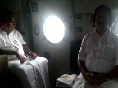 Kerala CM Pinarayi Vijayan conducted an aerial survey of flood affected areas with Ramesh Chennithala. ANI