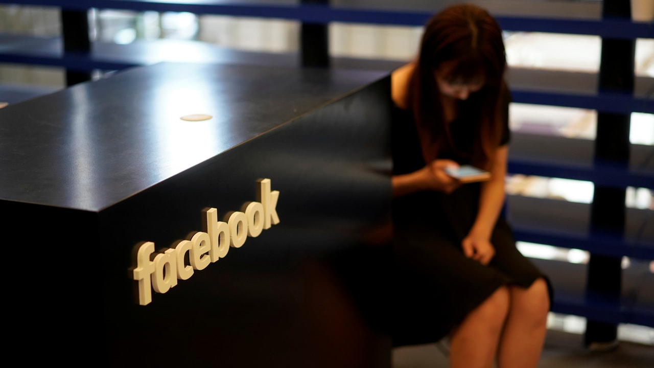 A Facebook sign is seen during a conference. Image: Reuters