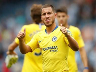Chelsea's Eden Hazard celebrates after the match. Reuters
