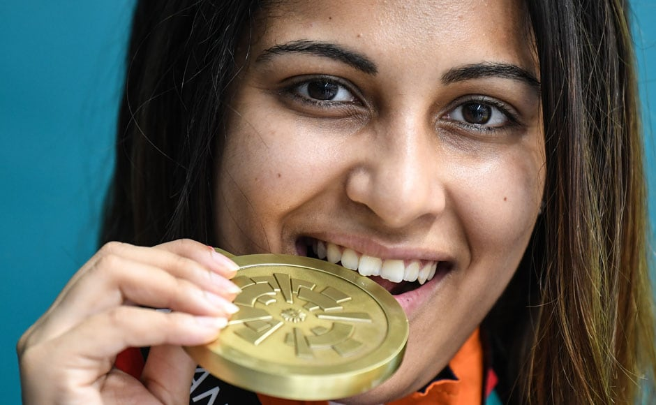 Heena Sidhu won bronze in the 10m air pistol, with an overall score of 219.2. AFP