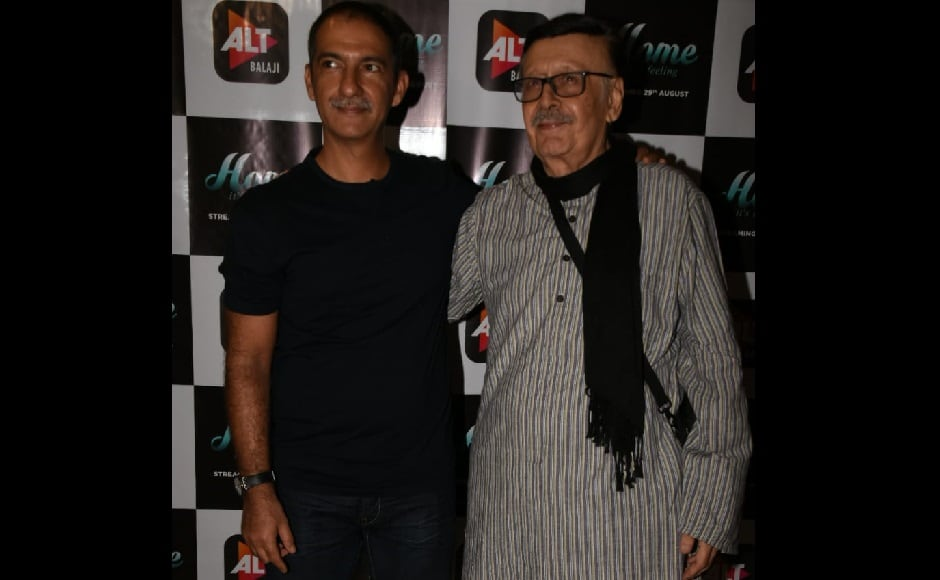 Parikshit Sahni poses with director Habib Faisal at the trailer launch of Home, to release on 29 August