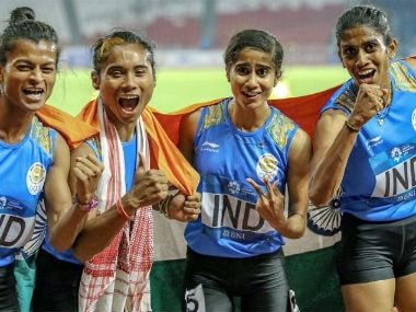 The victorious Indian women's 4x400m relay team. Image credit: Twitter/@rashtrapatibhvn