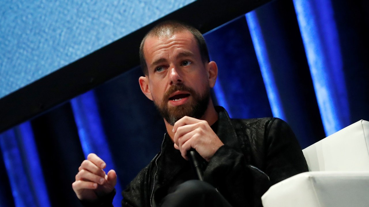 Jack Dorsey, CEO and co-founder of Twitter and founder and CEO of Square, speaks at the Consensus 2018 blockchain technology conference in New York City. Image: Reuters