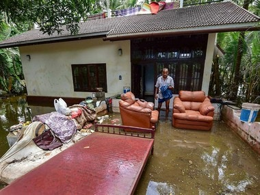 A flooded house in Kochi in Kerala. The state has been badly hit by floods in the past three weeks. PTI