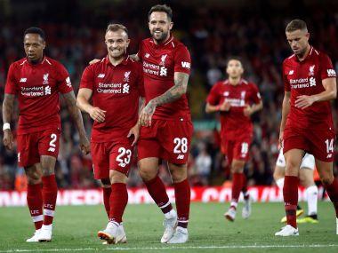 Liverpool's Xherdan Shaqiri and Danny Ings celebrate their goal during a pre-season friendly. Reuters