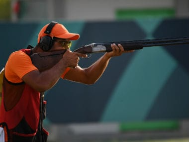 Lakshay of India competes in the men's trap shooting event at the 2018 Asian Games. AFP