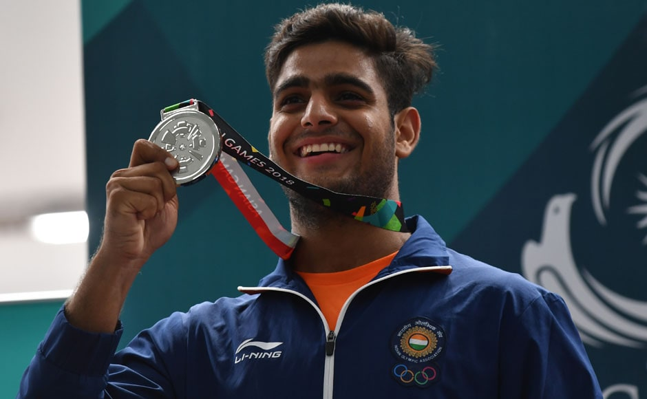 19-year-old Lakshay Sheoran shot 39 out of 45 to win a silver medal in men's trap shooting. AFP