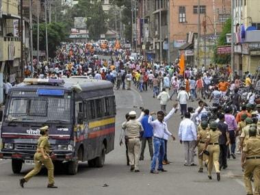 File photo of the Maratha Kranti Morcha protesting in Solapur. PTI