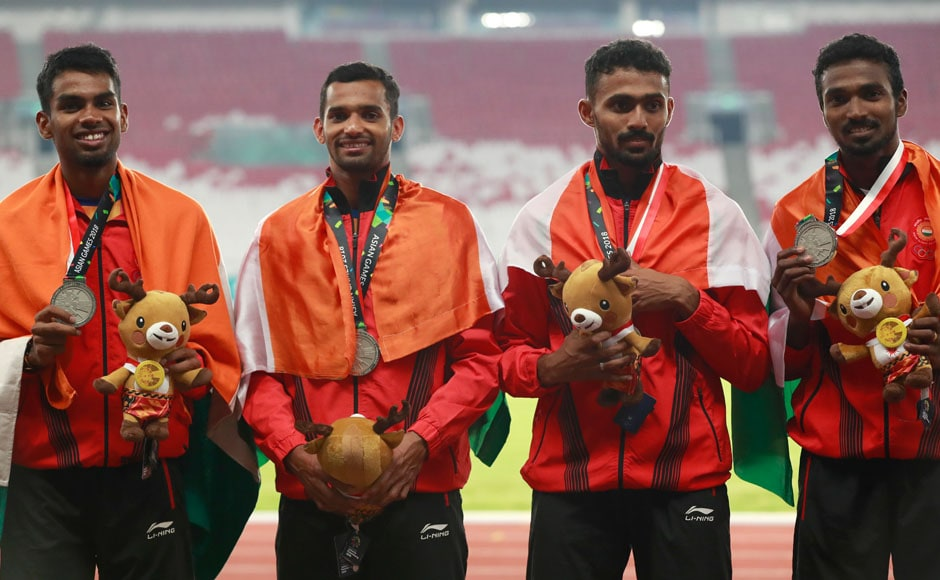 Kunhu Muhammed, Dharun Ayyasamy, Muhammed Anas Yahiya and Arokia Rajiv finished second in the Men's 4x400 Relay to win silver with a time of 3:01.85. AP