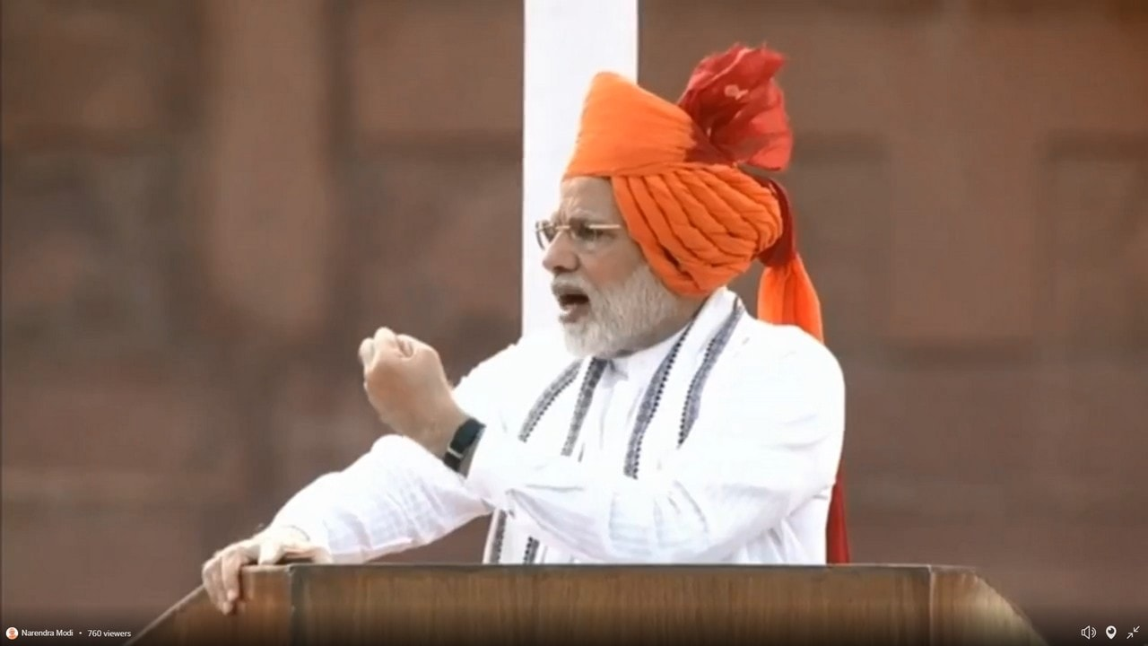 Narendra Modi during the Independence Day speech from Red Fort in New Delhi on Wednesday. PTI