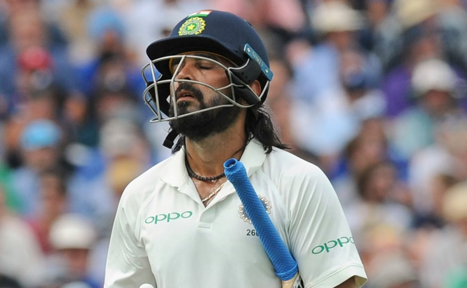 After England were bowled out for 180, India took to the field with a relatively easy target to chase. However, the hosts' bowling attack proved to be too much for the team, with openers Murali Vijay and Shikhar Dhawan falling for 6 and 13 respectively. AP