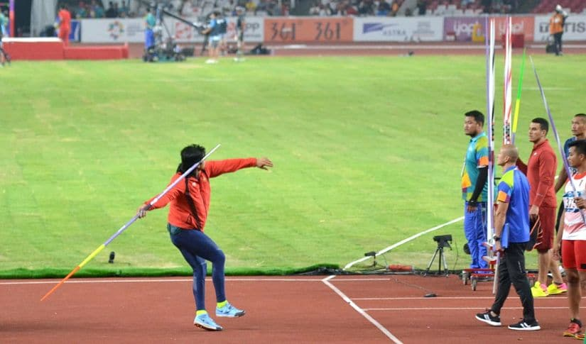 Neeraj's warm-up routine involved launching a couple of javelins with just 40 percent effort. Image courtesy: Twitter @g_rajaraman