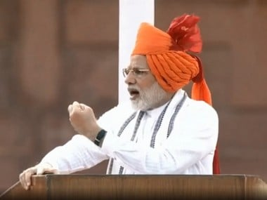 PM Narendra Modi addressing the nation at the Red Fort. Pic courtesy: Twitter@NarendraModi