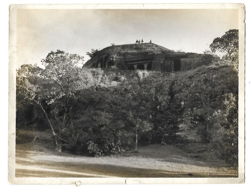 Pandav Caves, Panchmarhi circa 1970. Original photograph from a private collection in Chennai.
