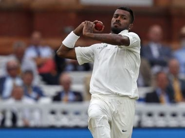 In 15 innings across 9 Tests that Hardik Pandya has played so far, he has bowled only 119.1 overs. AFP