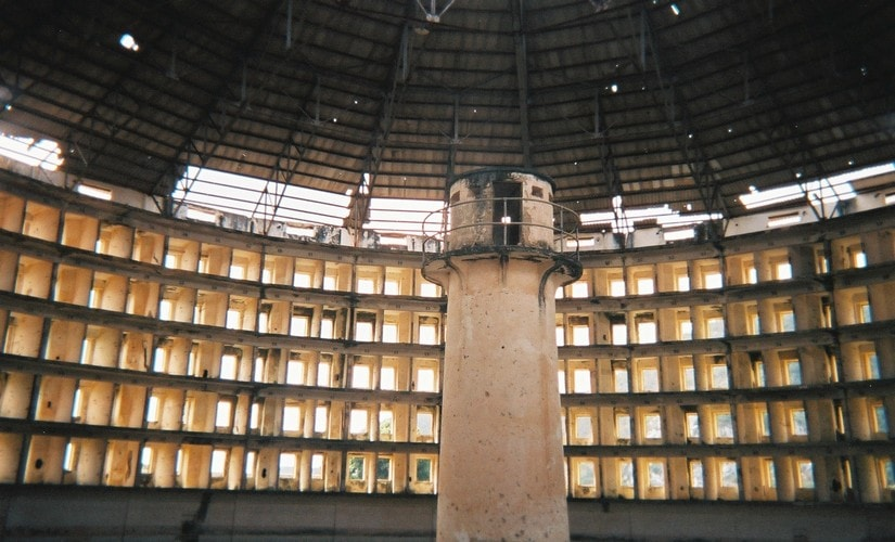 The panopticon prison design ensures that the inmates cannot see whether or not they are being watched. Wikimedia Commons