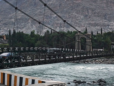 A suspension bridge over the Indus river in Pakistan's Gilgit. Reuters