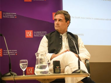 Congress president Rahul Gandhi at the London School of Economics. Twitter @INCIndia