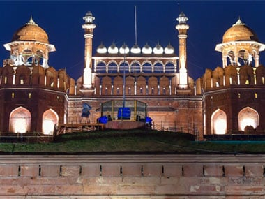 Red Fort after its first ever illumination on Friday. PTI