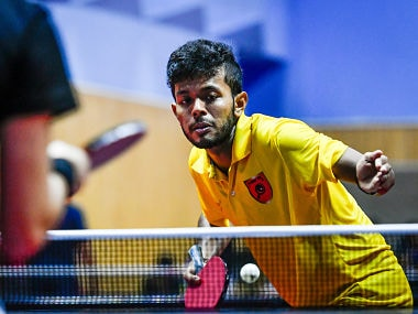 of Falcons TTC during the practice session of the CEAT Ultimate Table Tennis League powered by Kellogs at the League hotel in Pune, India on June 13, 2018. Photo : Pal Pillai / Focus Sports / Ultimate Table Tennis