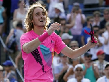 tefanos Tsitsipas (GRE) reacts after defeating Kevin Anderson (not pictured) during the semi finals in the Rogers Cup tennis tournament. Reuters
