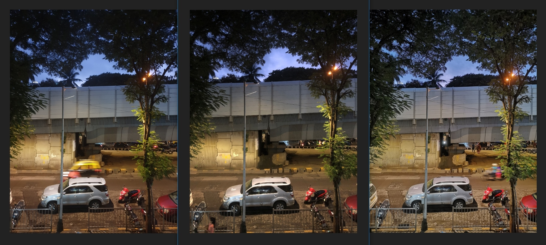 Street lighting conditions was not a problem for all three smartphones. Image: tech2/ Sheldon Pinto.
