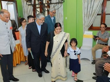 Sushma Swaraj participated in the Jaipur foot camp in Hanoi, which will provide India-made prosthetic limb to 500 beneficiaries. Twitter @MEAIndia