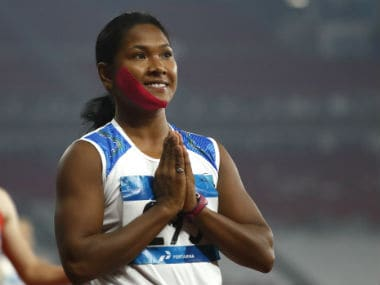 Swapna Barman revealed that she put a tape on her right cheek in order to reduce the pain caused by a tooth infection. AP