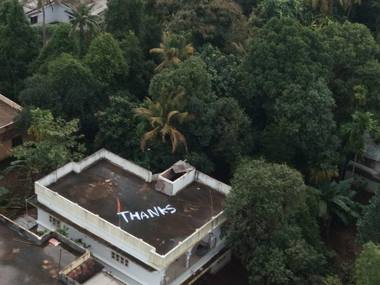 Giant 'Thanks' painted on roof of Kerala house from where navy evacuated two distressed women
