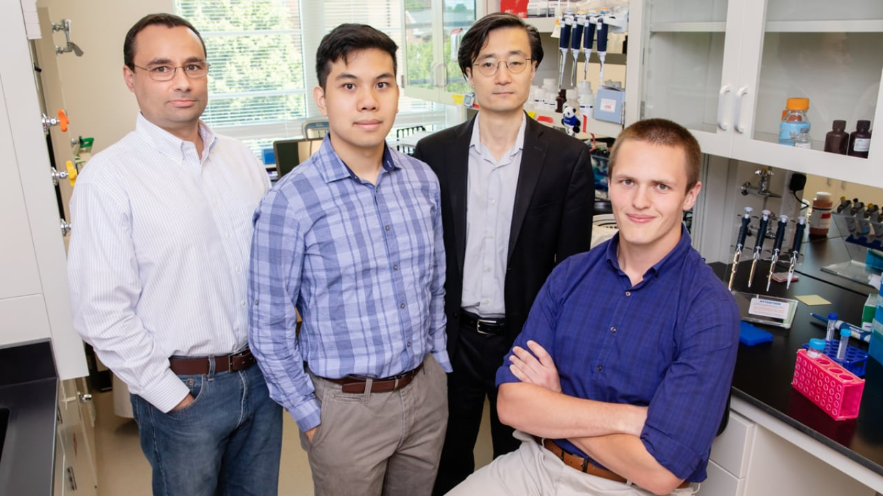 University of Illinois researchers Professor Pablo Perez-Pinera, graduate student Alan Luu, professor Jun Song and graduate student Michael Gapinske,inventors of the CRISPR-SKIP technology