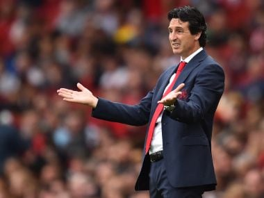 Arsenal coach Unai Emery gestures during their defeat to Manchester City. AFP