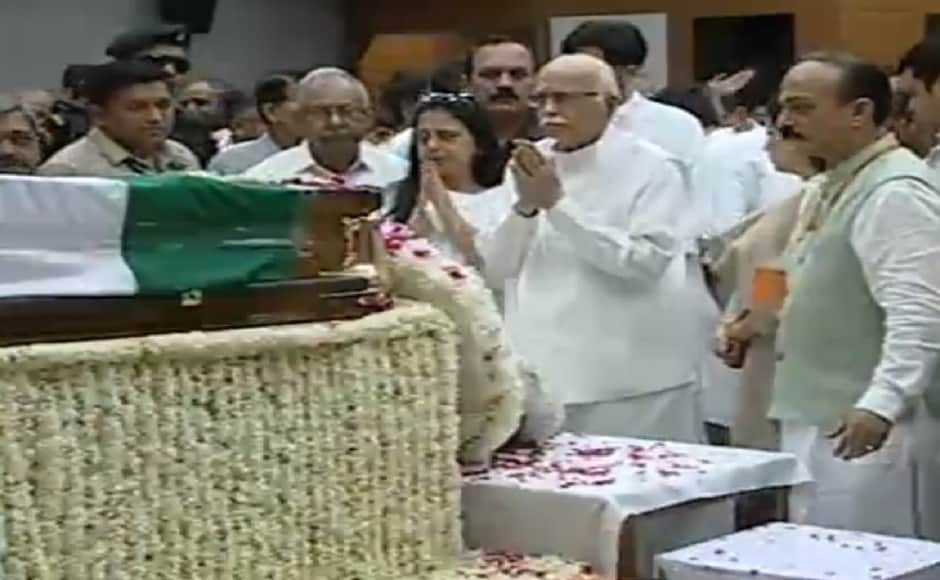 LK Advani was among those who visited Vajpayee on Friday before he would be laid to rest. PTI