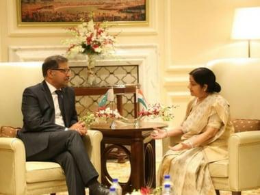 External Affairs Minister Sushma Swaraj met Pakistan's Interim minister Syed Ali Zafar. Twitter/@MEAIndia