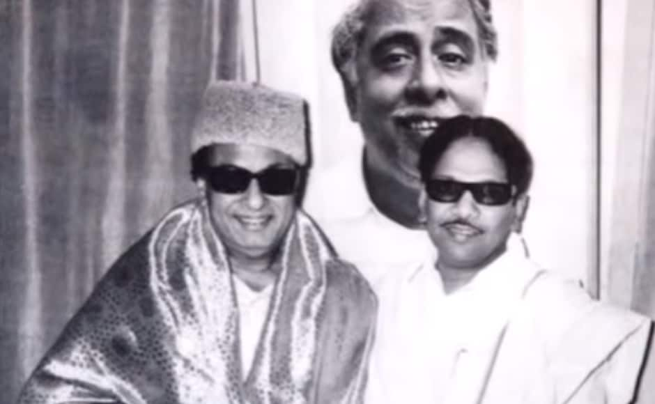 The Tamil leader of Telugu origin, thrice married with six children, wrote box-office-winning dialogue for films that launched the careers of legendary actors Sivaji Ganesan and MG Ramachandran (MGR). MGR (left) and Karunanidhi (right) were on good terms until the former went onto form the AIADMK. Screengrab from Youtube.