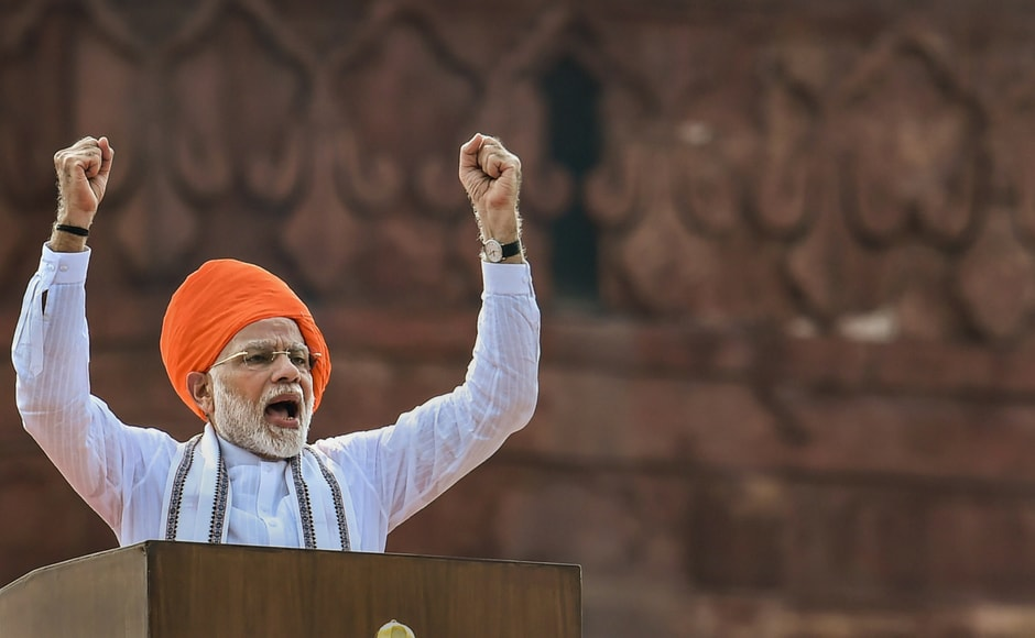 Prime Minister Narendra Modi addressed the nation from the ramparts of the historic Red Fort on the occasion of 72nd Independence Day, in New Delhi on Wednesday. PTI