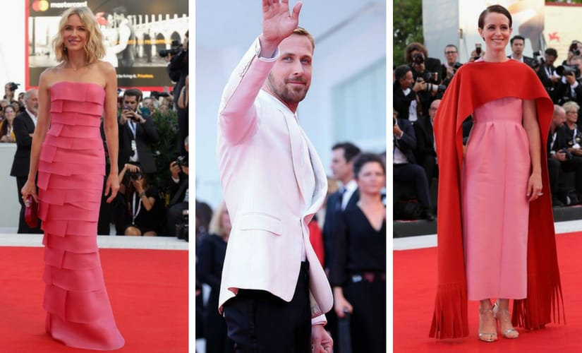 Naomi Watts, Ryan Gosling and Claire Foy walk the red carpet at Venice Film Festival 2018. Images from Twitter/@giorgioarmani, Facebook/@Fashion_Critic_