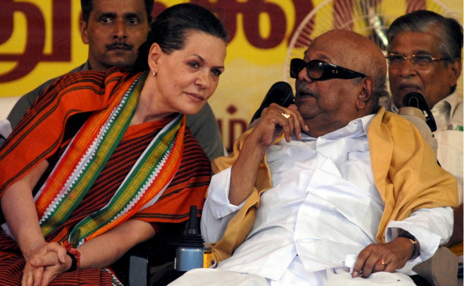 Karunanidhi with the then Congress party president Sonia Gandhi (L) during an election campaign rally in Chennai. Reuters