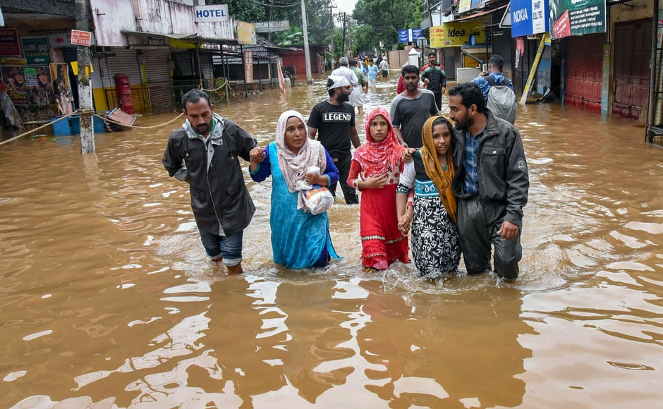 Floods caused by the heavy rains in Kerala have caused major destruction to life and property in various parts of the state. Rescue teams are still racing to take those who are stranded to relief camps. PTI