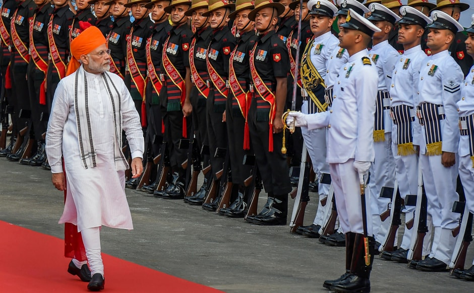Prime Minister Narendra Modi inspecting the guard of honour during 72nd Independence Day function at the historic Red Fort. PTI