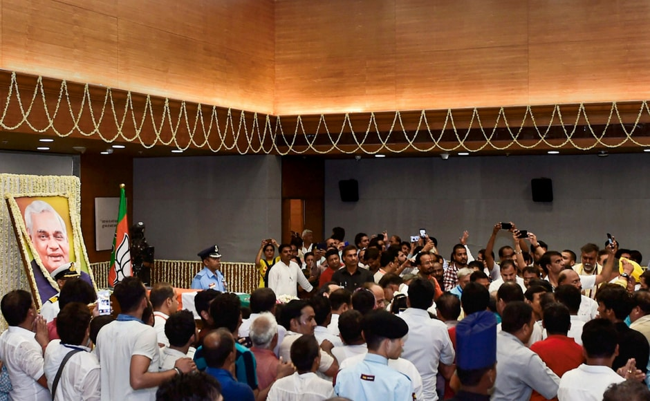 Apart from the leaders, hundreds of civilians also came to pay their last respects to Vajpayee. PTI