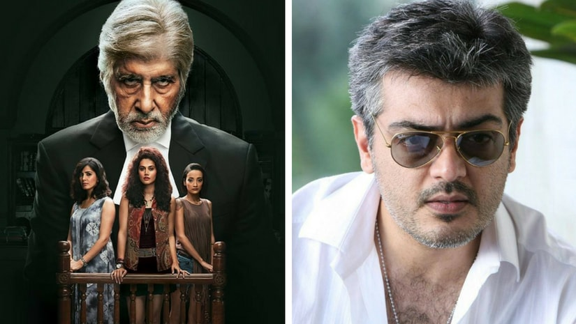 Pink poster (left) and actor Ajith (right). Images from Facebook