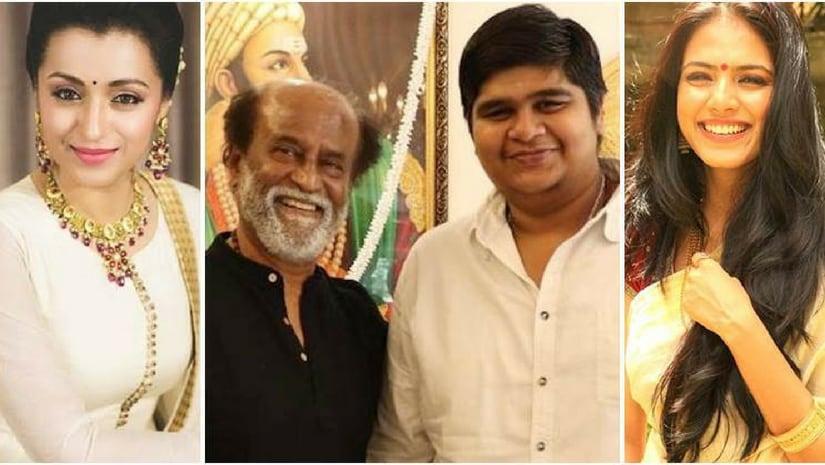 From left, trisha, Rajinikanth,