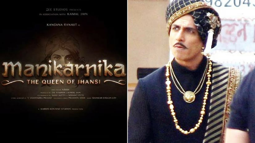 Manikarnika poster (left) and Sonu Sood's look in the film (right). Image from Facebook