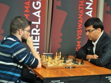 Viswanathan Anand in action against Vachier-Lagrave in the second round. Image courtesy: V Saravanan