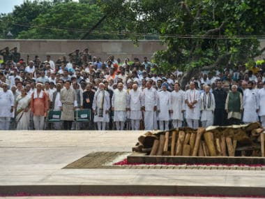 Vice-president M Venkaiah Naidu, Prime Minister Narendra Modi and other dignitaries during the cremation of Vajpayee. PTI