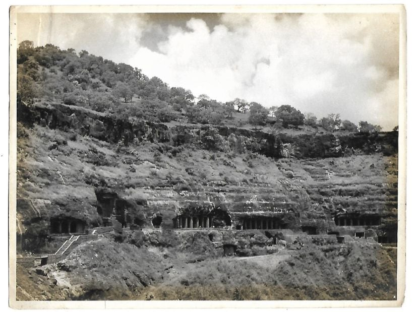 View of Ajanta caves circa 1970. Original photograph from a private collection in Chennai.