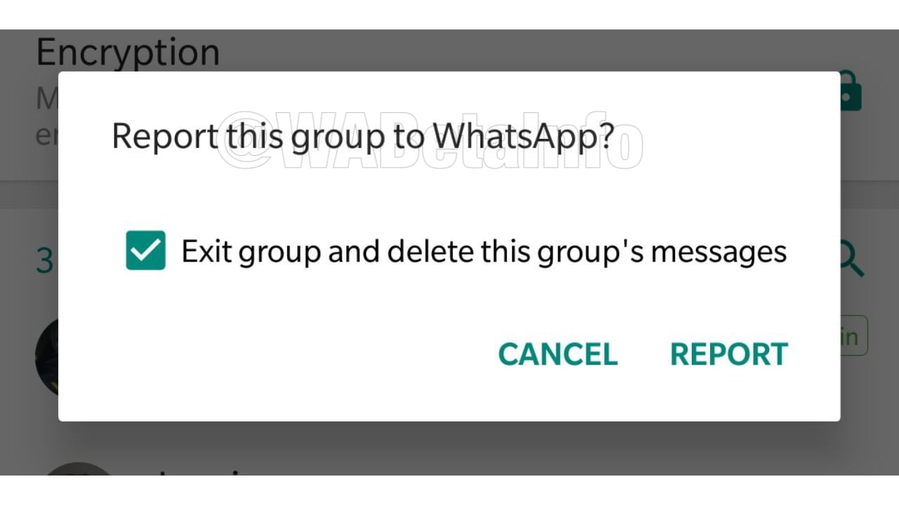 WhatsApp's Group Chat's new report feature. WaBetaInfo.