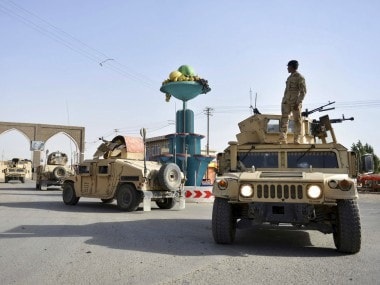 Afghan Security personnel petrol in the city of Ghazni province west of Kabul, Afghanistan. AP