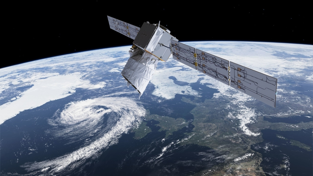 An artist's rendition of the Aeolus mission. Image courtesy: ESA